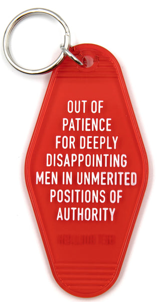 Out of Patience for Deeply Disappointing Men Motel Style Keychain in Red