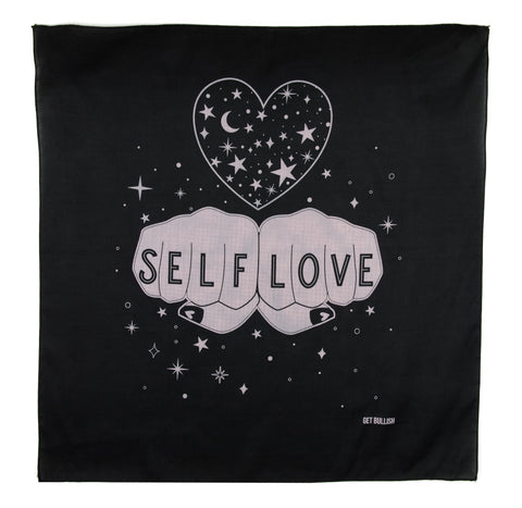 Self Love Cosmic Bandana in Black and Pink