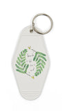 Fronds Til The End Motel Style Illustrated Funny Keychain - White, Green