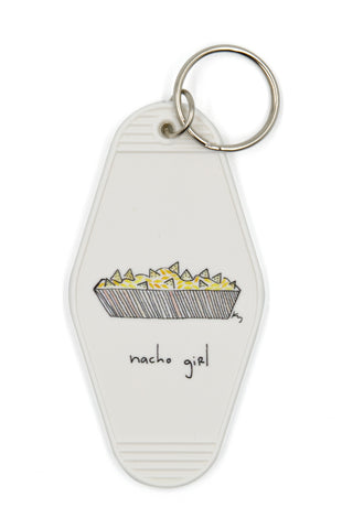 Nacho Girl Motel Style Funny Illustrated Keychain - White, Yellow