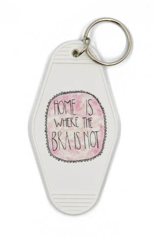 Home Is Where The Bra Is Not Motel Style Illustrated Keychain - White, Pink