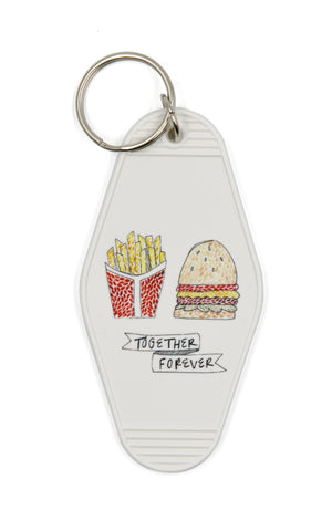 Together Forever Burger and Fries Motel Style Illustrated Keychain
