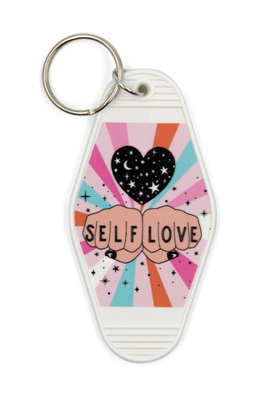 Self Love Motel Style Illustrated Keychain - White, Pastel Rainbow, Tattoo Inspired