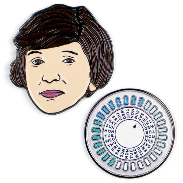 Margaret Sanger & The Pill Colorful Enamel Pins Set of 2