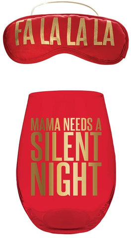 Fa La La La Eye Mask + Mama Needs a Silent Night Stemless Wine Glass Christmas Gift Set