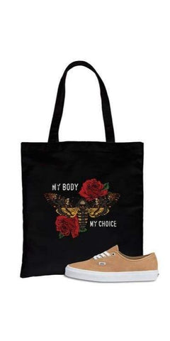 My Body My Choice Roses Canvas Bag in Black