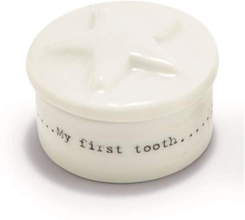 My First Tooth Porcelain Small Box in White with Star or Heart
