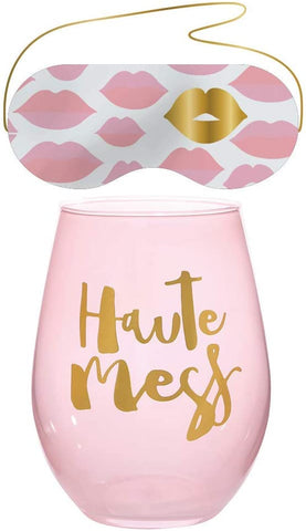 Haute Mess Stemless Wine Glass & Eye Mask Set