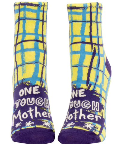 One Tough Mother Women's Ankle Socks, Hipster/Nerdy/Geeky/Trendy, Colorful Funny Novelty Socks with Cool Design, Bold/Crazy/Unique Half Dress Socks