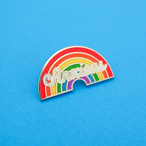 Anxious - Enamel Pin With Rainbow Design