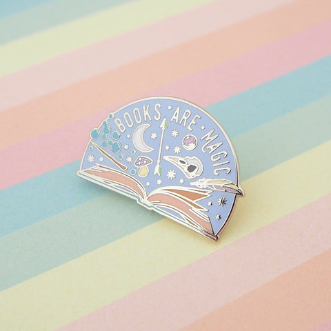 Books Are Magic - Enamel Pin In Blue and silver Colors