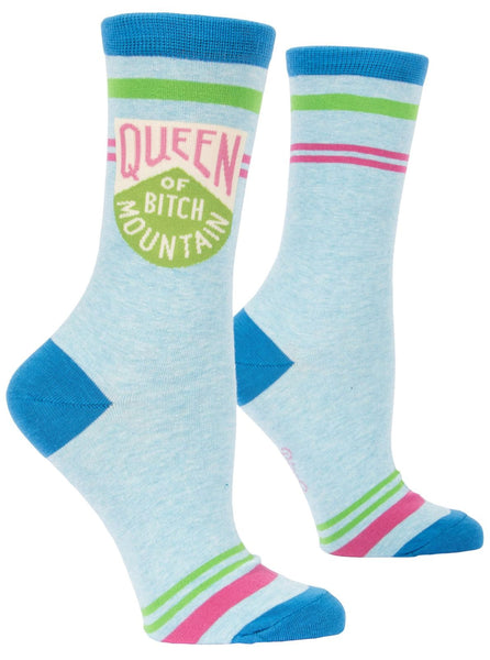 Queen of Bitch Mountain Women's Crew Socks, Hipster/Nerdy/Geeky/Trendy, Colorful Funny Novelty Power Socks with Cool Design, Bold/Crazy/Unique Business Dress Socks
