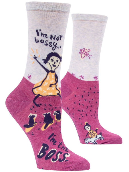 I'm Not Bossy, I'm The Boss Women's Socks, Hipster/Nerdy/Geeky/Trendy, Pink Purple Funny Novelty Business Socks with Cool Design, Bold/Crazy/Unique Power Dress Socks