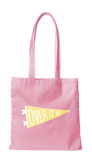 Over It AF Canvas Tote Bag in Pink and Yellow with Pennant Design | Cute Canvas Bags for Work or School