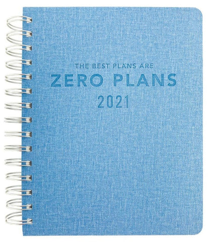 The Best Plans Are Zero Plans 18-Month (July 2020 - Dec 2021) Spiral Soft Vegan Leather Planner in Blue | Laminated Divider Tabs, Gold Foil Stickers