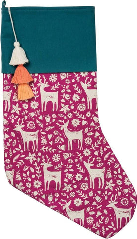 Scandi Reindeer and Flowers Christmas Stocking