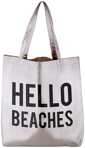 Hello Beaches Platinum Tote Bag in Metallic Silver
