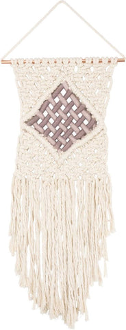 "Ivory and Blush Diamond Macrame Wall Hanging | Medium Interlock Design | Boho Decor | Copper Hardware | 13"" x 30"""