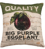 "Big Purple Eggplant 16"" x 18"" Large Pillow in Rustic-Inspired Design"
