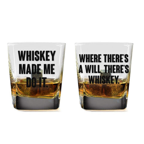 Whiskey Made Me Do It Whiskey Glass Set - 2 Glasses + Whiskey Stones