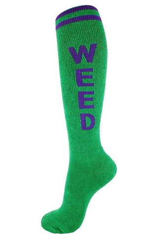 Weed Retro Knee High Socks in Green