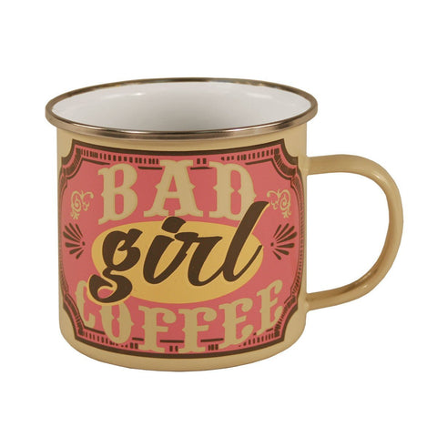 Bad Girl Coffee Enamel Mug in Natural and Pink