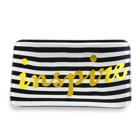 Inspire Trinket Tray in Black Stripe with Metallic Gold Script