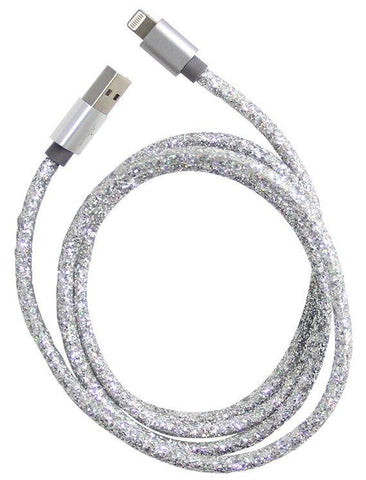 USB Silver Glitter Cable for iPhone™