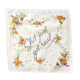 Shit Just Got Real Retro Floral Print Cotton Handkerchief