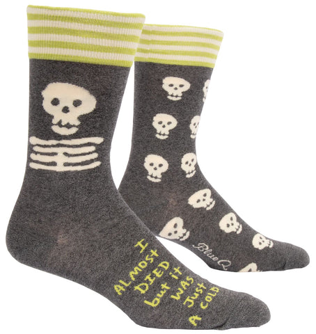 I Almost Died But It Was Just A Cold Men's Crew Socks, Hipster/Nerdy/Geeky/Trendy, Quirky Funny Novelty Socks with Cool Design, Bold/Crazy/Unique Specialty Dress Socks