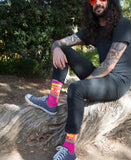 Body By Pizza Gym Socks in Pink and Yellow