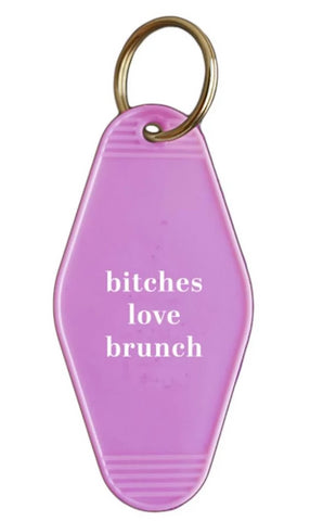 Bitches Love Brunch Hotel/Motel Style Keychain in Pink and White