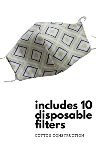 Reusable Cotton Face Cover with 10 Disposable Filters | Unisex Green Retro Diamond