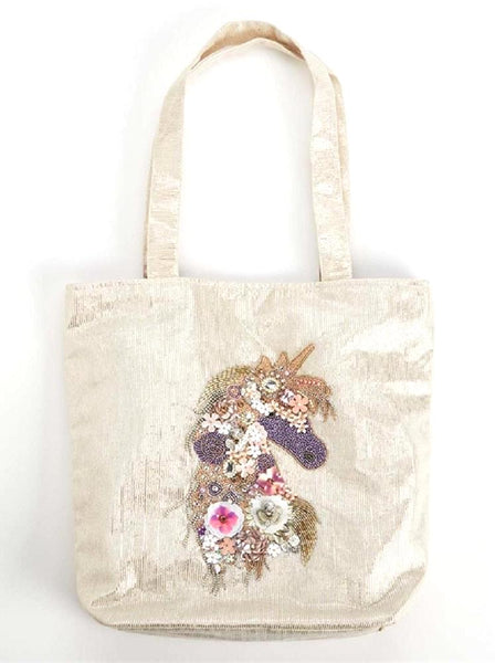 Pearlescent Unicorn Embellished Tote Bag with Floral Beads Design