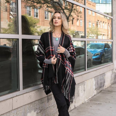 Classic Plaid Ruana in Soft Black