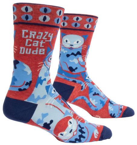 Crazy Cat Dude Men's Crew Socks, Hipster/Nerdy/Geeky/Trendy, Colorful Funny Novelty Socks with Cool Design, Bold/Crazy/Unique Quirky Dress Socks