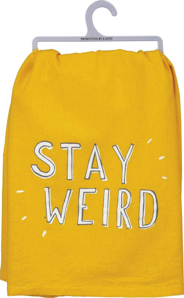 "Stay Weird Yellow Dish Towel | Tea Towel | 28"" x 28"" 