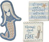 Mermaids Drink For Free Set of 3 Wood Magnets in Gift Packaging