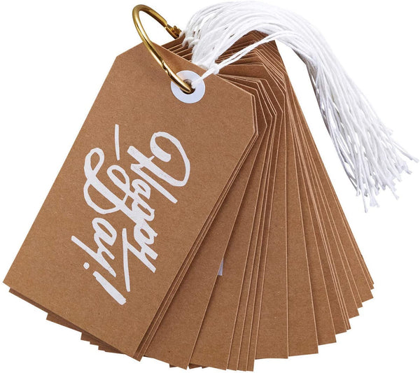 Anytime Gift Tag Book in Brown | 24 Pretty Cardstock Tags | Enjoy, Thanks Pal, Just Because, Etc.