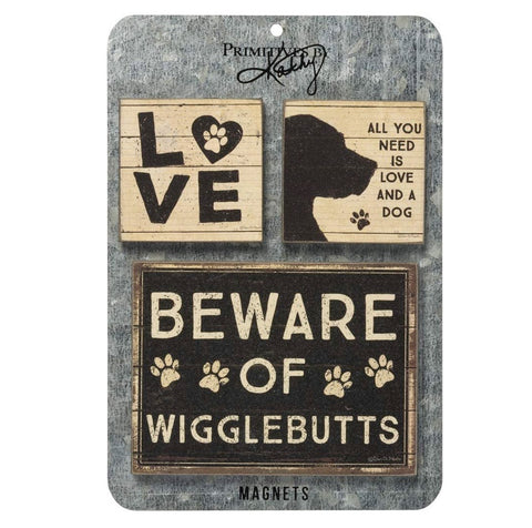 Beware of Wigglebutts Dog Lovers Distressed Black and White Magnet Set | 3 Magnets on a Metal Gift Backing