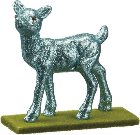 Small Walking Doe Deer Blue Glitter Decor