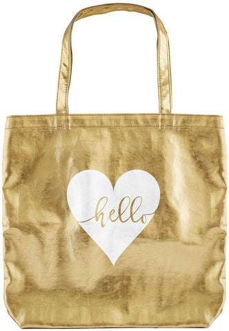 Hello Tote Bag in Metallic Gold and Heart Design