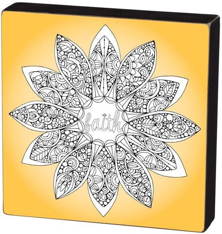 Faith Color It Yourself Block Sign, Coloring Project For Adults, Decorative Wall Art for Living Room/Bedroom/Dining Room