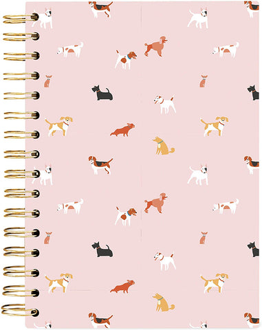Dog Pattern Hard Cover Journal in Blush Pink
