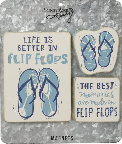Life Is Better In Flip Flops Carved Wood Magnet Set on Metal Gift Card
