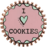 I Heart Cookies Enamel Pin in Pink and Green