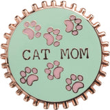 Cat Mom Pink and Green Enamel Pin on Gift Card
