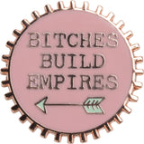 Bitches Build Empires Pink and Green Enamel Pin on Gift Card