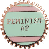 Feminist AF Pink and Green Stripes Enamel Pin on Gift Card
