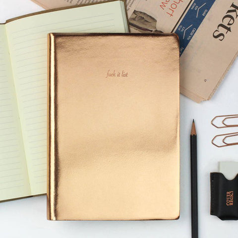 Fuck It List Notebook in Metallic Gold